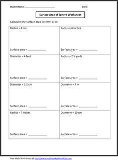6th Grade Math Worksheets | Surface area of sphere worksheet