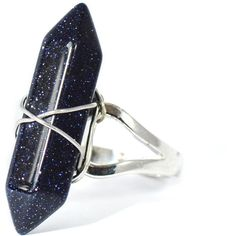 Sparkly Blue Sandstone Quartz Crystal Ring Cosmos Healing Stone Point... (€16) ❤ liked on Polyvore featuring jewelry, rings, accessories, vintage silver rings, blue ring, blue crystal ring, silver rings and silver boho rings