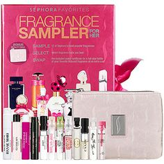 Sephora fragrance sampler has samples of 12 of their most popular scents - includes Marc Jacobs and Versace.
