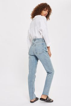 TALL Bleach Raw Hem Straight Leg Jeans - Jeans - Clothing - Topshop