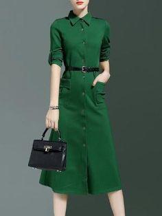 Green Cotton-blend A-line Elegant Solid Shirt Dress With Belt Vintage Midi Dresses, Modest Dresses, Modest Outfits, Dress Outfits, Dresses For Work, Event Dresses, I Love Fashion, Modest Fashion, Fashion Dresses