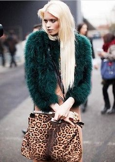 NEW Real Fur Ostrich Turkey Feather Fur Coat Jacket soft Warm Green