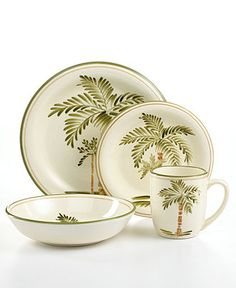 Locate additional or replacement pieces for your collection of discontinued Gibson Palm Court dinnerware. Tropical Home Decor, Tropical Design, Tropical Pattern, Casual Dinnerware, Dinnerware Sets, Tropical Dinnerware, Gibson Dinnerware, Palm Tree Decorations, British Colonial Style