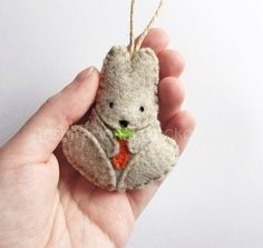 Felt bunny ornament, woodland Easter ornament, cute woodland baby shower and nursery decoration, spring home decor, door hanger, gift topper