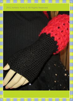 Valentines Black with Red Cuff Fingerless Gloves by ArtisticFunk, $25.00