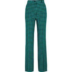 Bottega Veneta Polka-dot wool wide-leg pants (46,015 DOP) ❤ liked on Polyvore featuring pants, blue, bottega veneta, blue polka dot pants, wool pants, polka dot wide leg pants and blue print pants