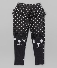 {inspiration} Black Polka Dot Kitty Knee Leggings - Infant, Toddler & Girls #zulilyfinds