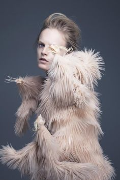 Innovative Fashion - silicone dress with 3D-printed textures inspired by nature; sculptural fashion // Iris Van Herpen