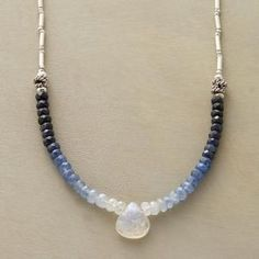 "GRADATIONS NECKLACE -- Sapphires fade from midnight to palest blue as they approach a moonstone briolette. Sterling silver beads and lobster clasp. Exclusive. Handcrafted in USA. 17""L. by crystalc"