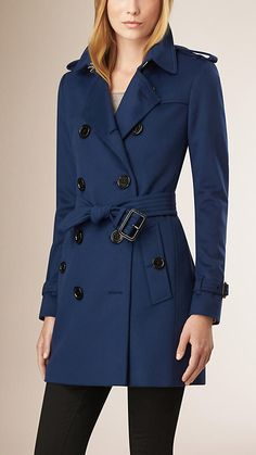 Empire blue Wool Cashmere Trench Coat - Image 1