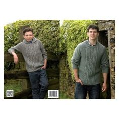 King Cole 3964 Boys and Mens Sweater and Hoodie in Aran (leaflet)