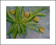 Aquarell Tulpen Tulpenaquarell, Aquarell, Tulpen, malen, Kunst, bild, Dekoration,