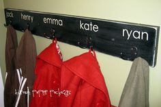 {quick & simple coat hooks} for boys' backpacks in the hall