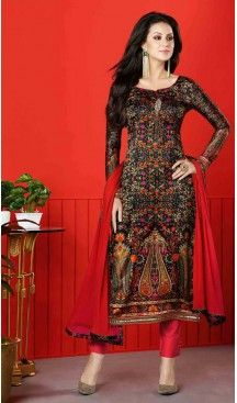 Red Color Satin Digital Printed Salwar Kameez | FH526080239 #casual, #salwar, #kameez, #online, #trendy, #shopping, #latest, #collections, #summer,#shalwar, #hot, #season, #suits, #cheap, #indian, #womens, #dress, #design, #fashion, #boutique, #heenastyle, #clothing, #cotton, #printed, #materials, @heenastyle