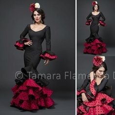 Modelo Angela de la coleccion Tamara Flamenco Dance 2015 https://www.tamaraflamenco.com/es/angela-rojo-y-negro/trajes-de-flamenca-2015-mujer-551#.VdbvivntlBc