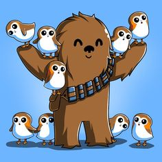 Chewie and Porgs T-Shirt Star Wars TeeTurtle