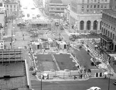 Here is an overall view of Canton's Central Plaza as it was prior to the opening of streets surrounding it in November 1962