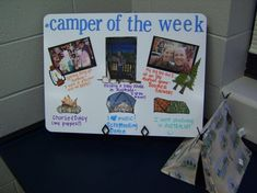 """Camper"" of the week, instead of Star of the Week..... for more ideas for a camping themed classroom, click here!  http://2busybrunettes.com/2012/07/19/thriller-thursday-everyones-a-happy-camper-in-this-room/"