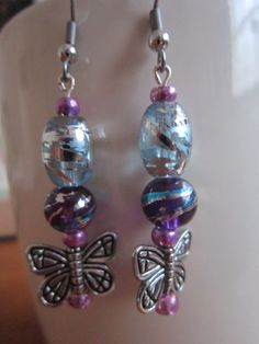 Purple and Fucshia Glass Bead/SilverToned by BeadazzlingButterfly, $8.00