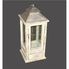 Antique Wooden Lanterns | Shabby Chic Antique White Wood Lantern