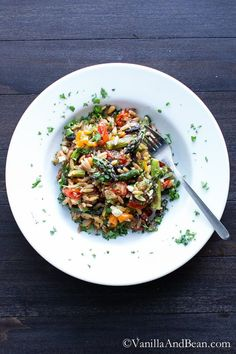 Lemon Garlic Orzo with Roasted Vegetables | Vanilla And Bean    maybe for dressing: add lemon to italian in fridge