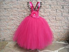 Tutu Dress, RASPBERRY DELIGHT, Elastic Bodice, 20 Inch Long Tulle Skirt, Size 1-5, Toddlers.