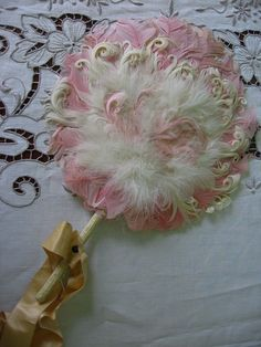 Antique Feather Fan Round Shape with Handle Ribbon by Emmetswyfe, $85.00