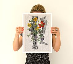 Wild Flowers on my legs Poster, A3 poster, anatomical art, anatomical art, home decor, Wall art, flower art poster, Flower poster PSK096