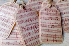 I think I know what to do with all of mom' sold sheet music!  Christmas Gift Tags - Vintage Christmas Notes