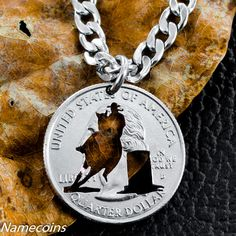 Barrel Racer Necklace, Quarter, hand cut coin by NameCoins on Etsy