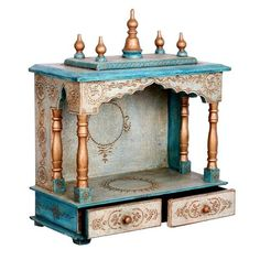 Blue And White Handpainted Embossed Temple Or Mandir With Two Drawer - FOLKBRIDGE.COM | Buy Gifts. Indian Handicrafts. Home Decorations.