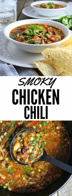 Smoky Chicken No smoker required! This brilliant oven-smoked chicken method is unbelievable! Pulled chicken chili with beans, tomatoes, peppers, garlic, onions and stock. Full of healthy y (Crockpot Chicken Chili) Chowder Recipes, Chili Recipes, Mexican Food Recipes, Soup Recipes, Chicken Recipes, Cooking Recipes, Healthy Recipes, Cooking Fish, Chicken Meals