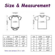 cute tee tee © marobee: Baby Tee & Romper: Size, Measurement and Colour Chart