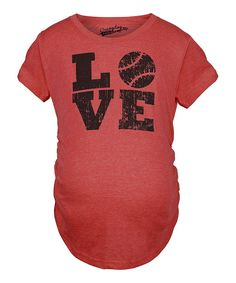 Heather Red 'Love' Baseball Maternity Tee