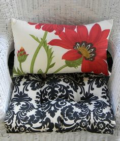 Indoor / Outdoor Wicker Cushion and Rectangle / Lumbar Pillow Set - Pottery Barn Red Poppy Flower & Black and Ivory Damask by PillowsCushionsOhMy on Etsy, $44.96 Pillow Set, Lumbar Pillow, Throw Pillows, Red Barns, Red Poppies, Seat Cushions, Damask, Pottery Barn, Poppy