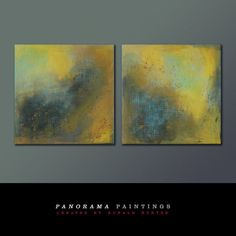 Serie of two  Yellow Wind  Abstract painting  door PanoramaPaintings, $499.00