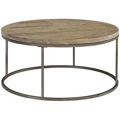 upstairs TV room - Alana Steel and Acacia Wood Top Round Coffee Table