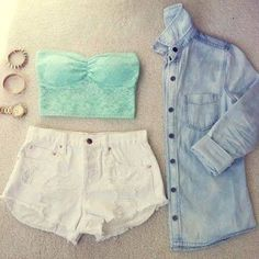 Summer fashion looks white shorts mint bandeau denim shirt Cute Summer Outfits, Spring Outfits, Cute Outfits, Summer Clothes, Outfit Summer, Summer Wear, Look Fashion, Teen Fashion, Womens Fashion