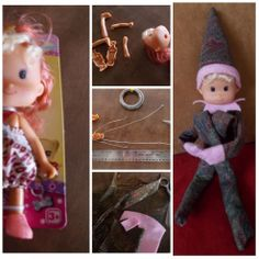 DIY Pixie ELF on SHELF - Buy a dollar store doll with a large head, decapitate, discard factory limbs, pry open body, add wire for arms and legs, close body.  Sew up a fat tube of fabric for the body, long skinny tubes for appendages, put everything back together, glue the hat on.  Oi la!