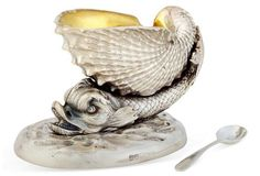 One Kings Lane - Shine On - Silver-Plated Dolphin Salt Cellar Condiment Holder, Vintage Egg Cups, Traditional Dining Rooms, Salt Of The Earth, South Shore Decorating, Teapots And Cups, Salt Pepper Shakers, Decorative Objects, Decorative Metal