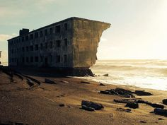 Concrete block of flats abandoned in 1964, located in Kamchatka, (Russia), the former fishing village Kirovsky.