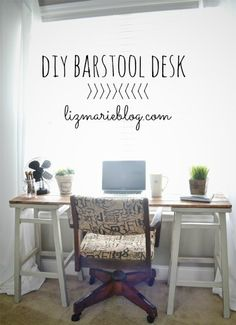 simple & sweet little desk made by the blogger with 2 secondhand barstools and a few pieces of wood screwed to the top. looks like a great beginner project & just the right size for a smaller space. similar to what I've been wanting to build for my boys.