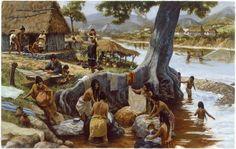 Una pintura representa la vida cotidiana en un pueblo maya.