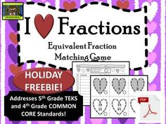 5th Grade Valentine's Day Equivalent Fractions FREEBIE--Free game for students to match equivalent fractions!  #ThePensiveSloth #Math #Fractions