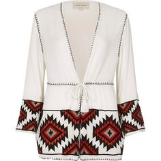 River Island White and red aztec embroidered kimono (130 PEN) ❤ liked on Polyvore featuring intimates, robes, coats & jackets, sale, white, women, tall robes, red kimono, kimono robe and white robe