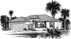Home Plan HOMEPW06168 - 1666 Square Foot, 3 Bedroom 2 Bathroom + Spanish Home with 2 Garage Bays | Homeplans.com
