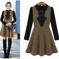 Khaki Women Doll Collar Long Sleeve Contrast Floral Embroidery Tunic Dress