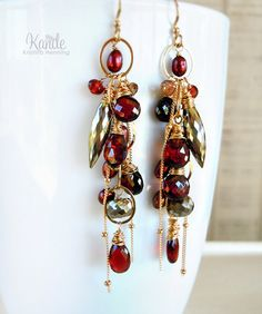 Red Chandelier Earrings Dinosaur Bone Garnet Wire Wrap Dangle Cluster Drop… More