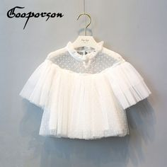 Fashion Girls Outfits White Short Sleeve See-Throught Tops Shirt Dot Printed Kids Girl Summer Shirt Children Outfit Elegant Tops