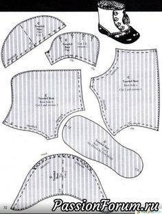Выкройки винтажной обуви для кукол - запись пользователя veda (Елена Бельская) в сообществе Мир игрушки в категории Разнообразные игрушки ручной работы